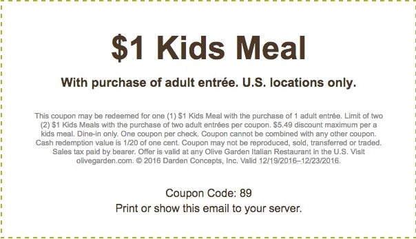 Olive Garden Coupon 1 Kids Meal With Purchase Of Adult Entree 12 20 2016