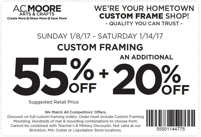 ac moore coupon 55 off an additional 20 off custom framing