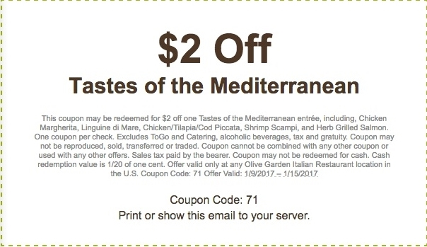 Olive Garden Coupon 2 Off Tastes Of Mediterranean 1 9 2017