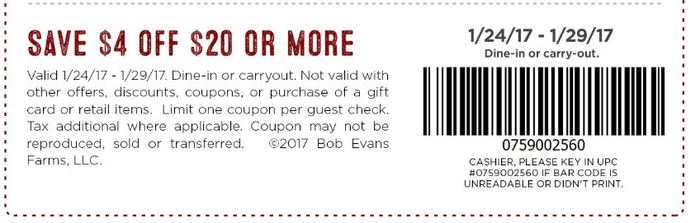 Bob evans in store coupons