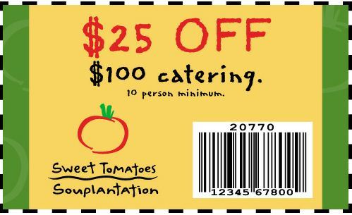 Sweet Tomatoes Coupon: Get $25 Off $100 Catering Order (10 Person Minimum)