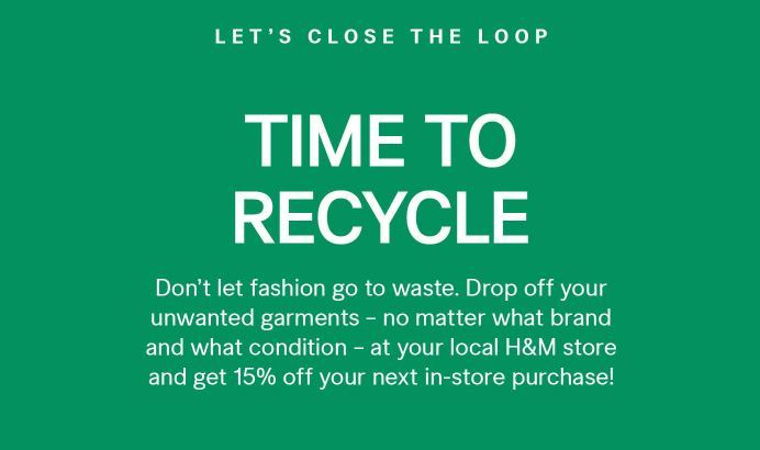 H&M Coupon: 15% Off In-store Coupon | Recycle Program