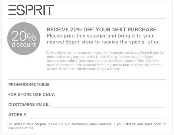 Esprit Coupon: 20% off your purchase - Valid Esprit stores only.