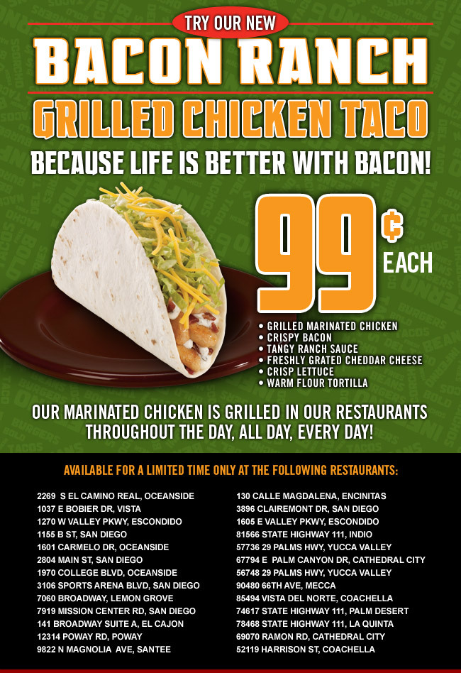 DelTaco Coupon: Bacon Ranch Grilled Chicken Taco 99 cents