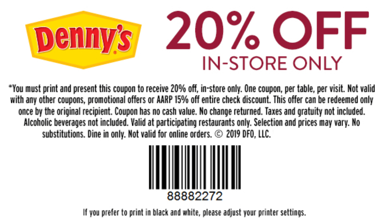 Denny's Coupon: 20% Off Entire Guest Check