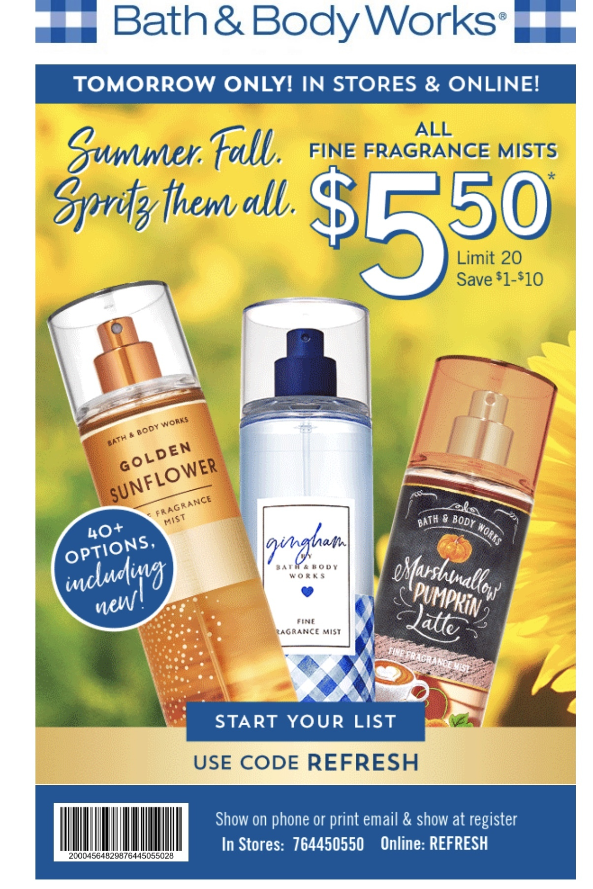 Bath and Body Works Coupon: $5.50 Fragrance Mists