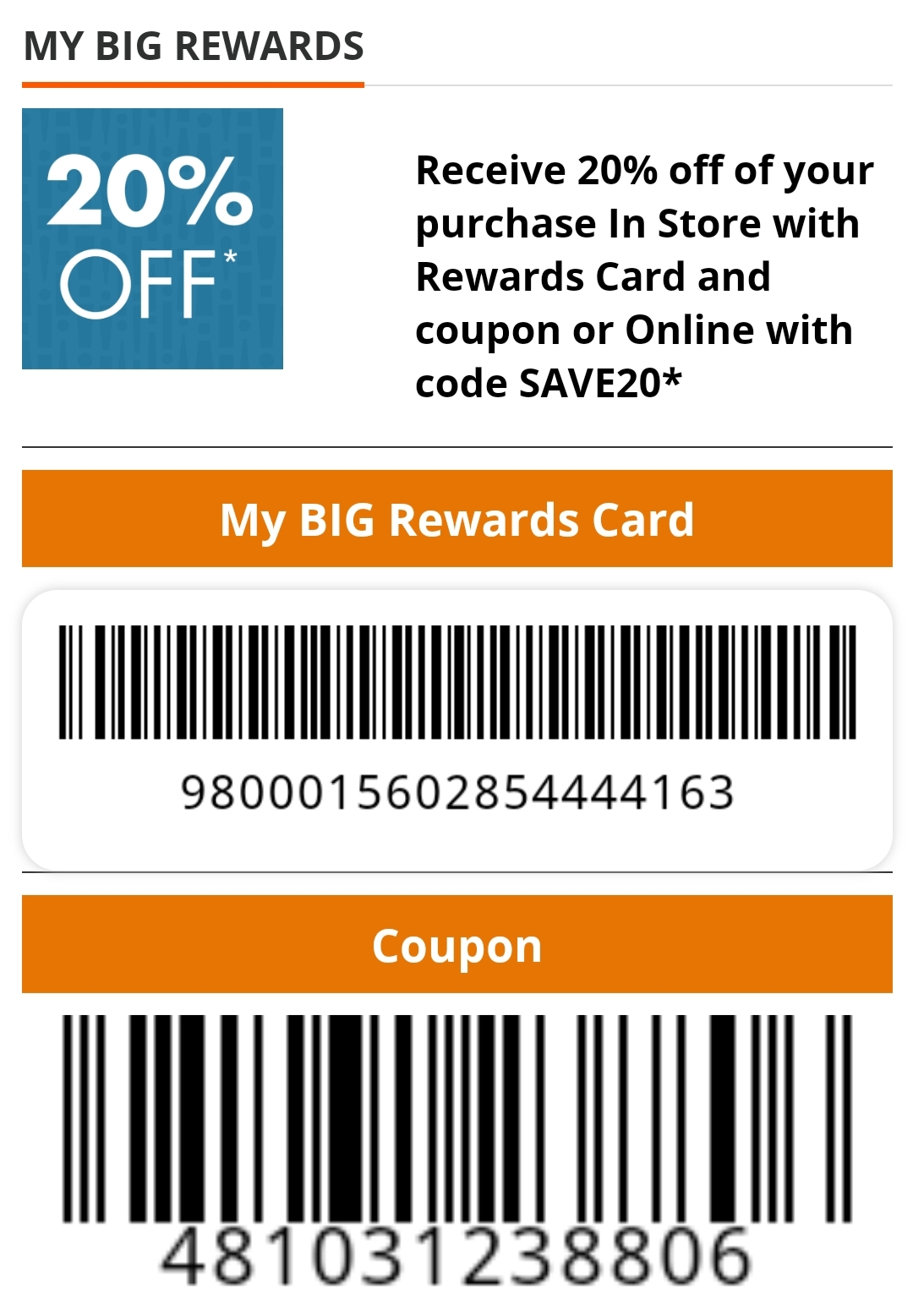 Big Lots Coupon: 20% Off Entire Purchase (Big Rewards Members)