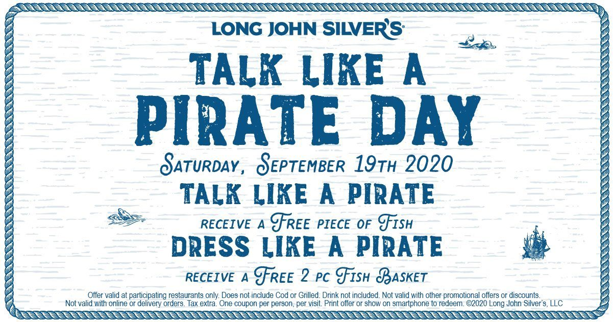 Long John Silvers Coupon: Free Fish for Talk Like a Pirate Day