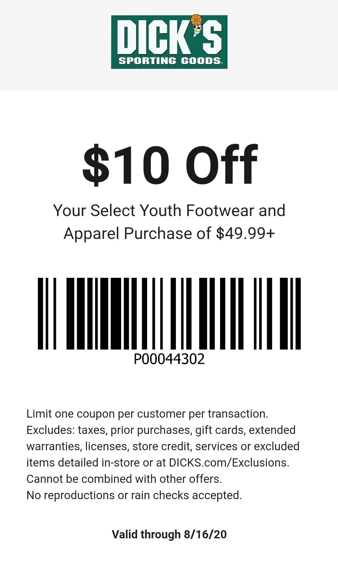 Dicks Sporting Goods Coupon: $10 Off $49.99 Select Youth Footwear & Apparel