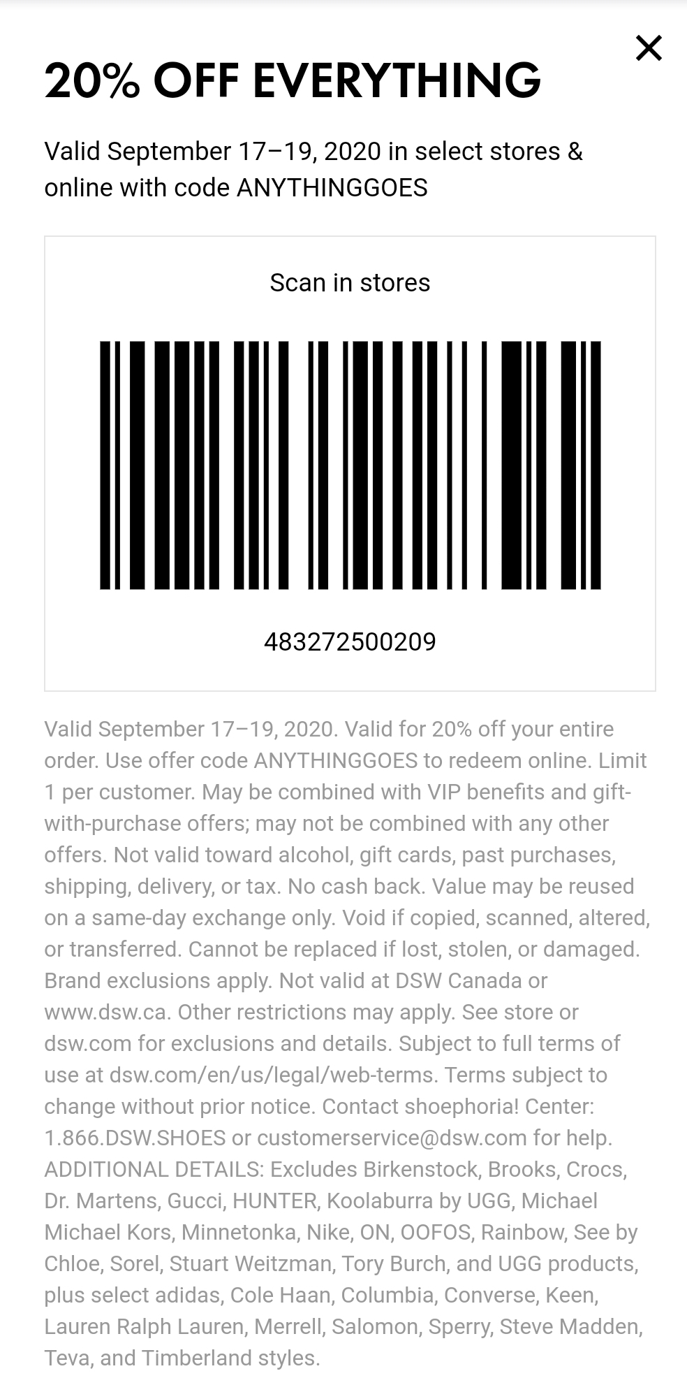 DSW Coupon: Extra 20% Off Storewide