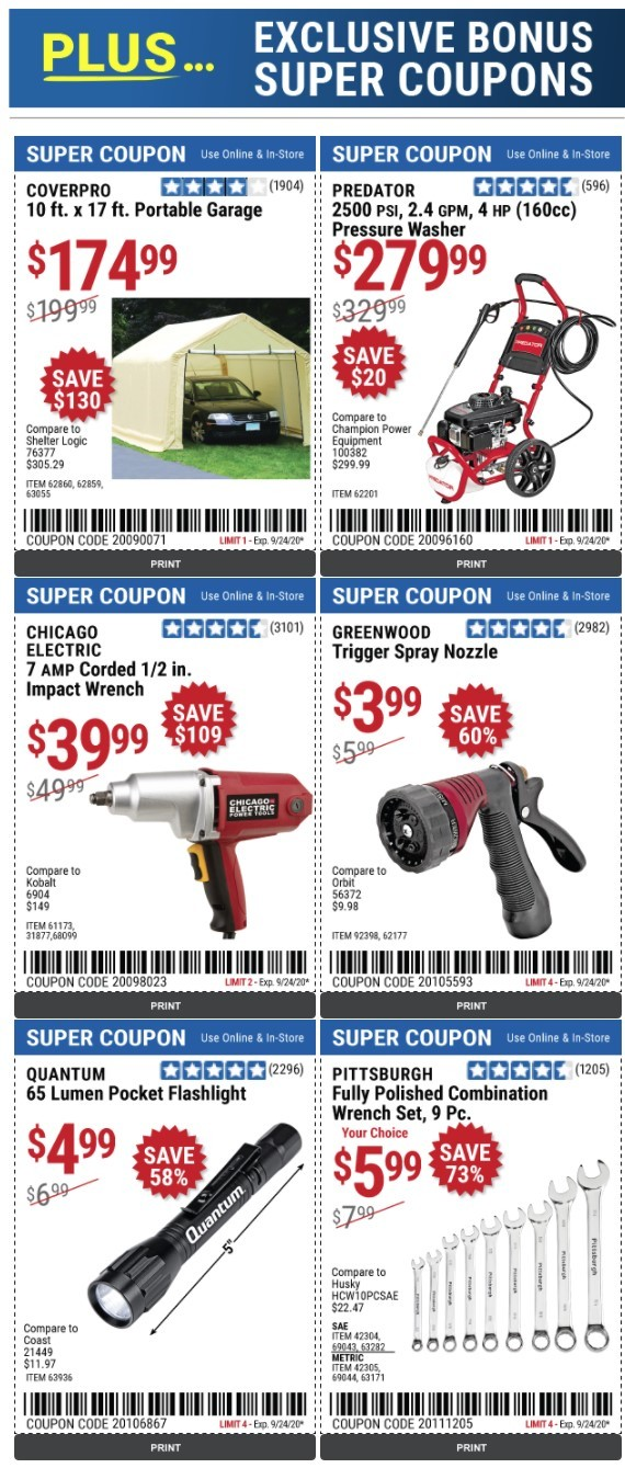 Harbor Freight Coupon: Up to 75% Off Bonus Super Coupons