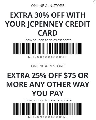 JCPenney Coupon: Extra 25-30% Off In-Store Purchases
