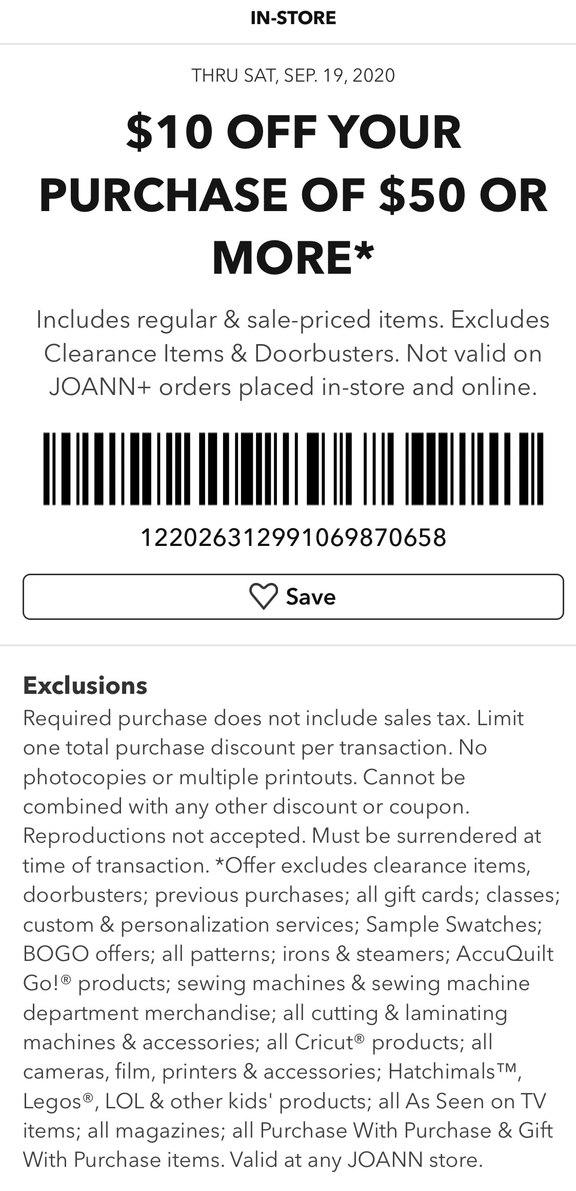 Joann Coupon: Extra $10 Off $50+