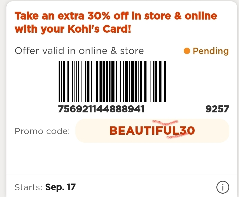 Kohl's Coupon: Extra 30% Off Entire Purchase (Charge Cardholders)