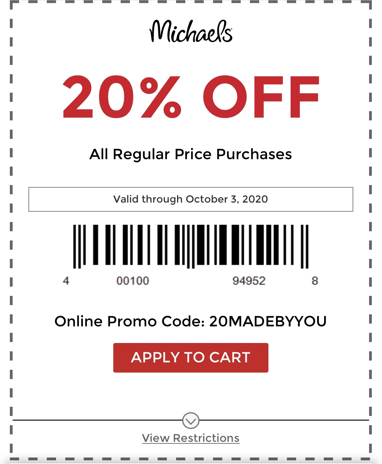 Michaels Coupon: 20% Off Entire Regular Priced Purchase