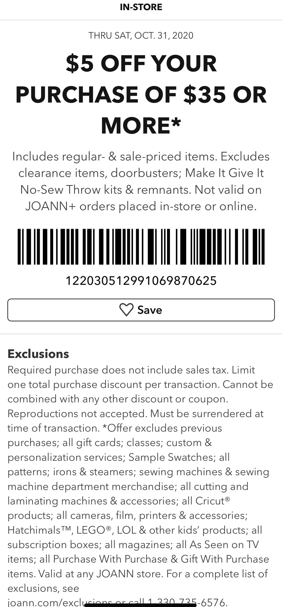 Joann Coupon: Extra $5 Off $35+