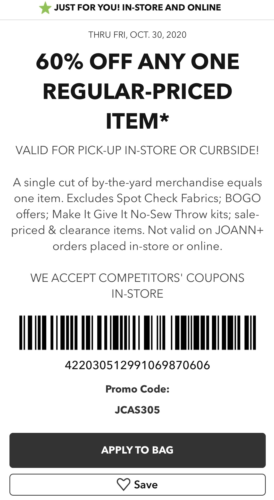 Joann Coupon: 60% Off One Regular Priced Item