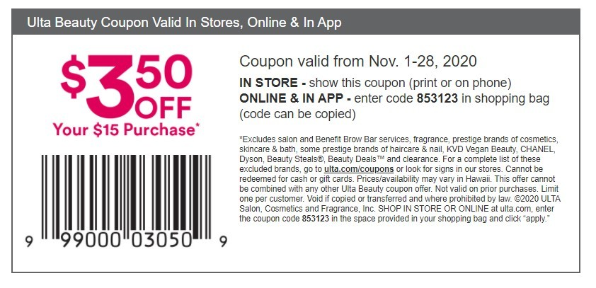 ULTA Coupon: Extra $3.50 Off $15+