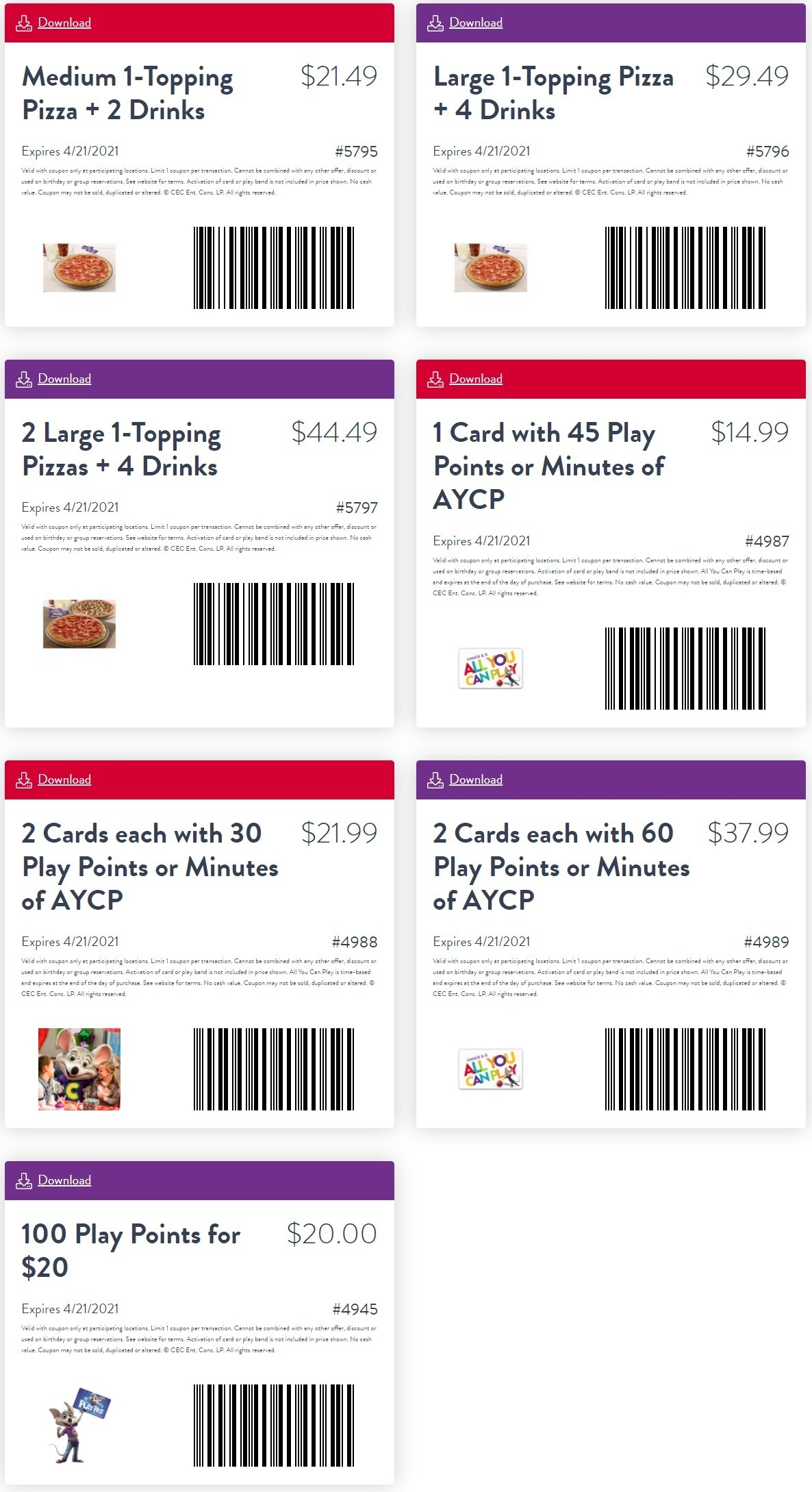 Chuck E Cheese Coupon: In-store Coupons for April 2021