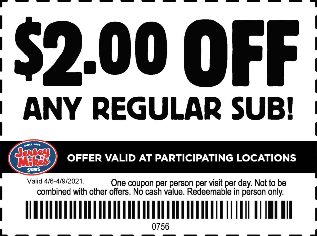 Jersey Mikes Coupon: $2 Off Any Regular Sub