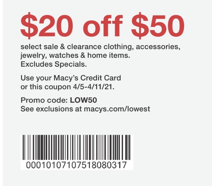 Macy's Coupon: Extra $20 Off $50+ On Select Sale & Clearance