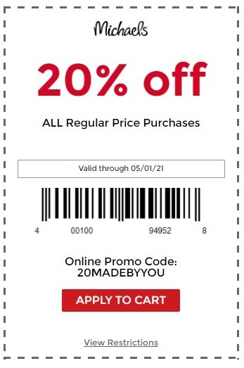 Michaels Coupon: 20% Off Regular-Priced Purchase