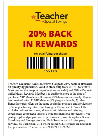 Office Depot Office Max Coupon: 20% Back in Rewards for Teachers