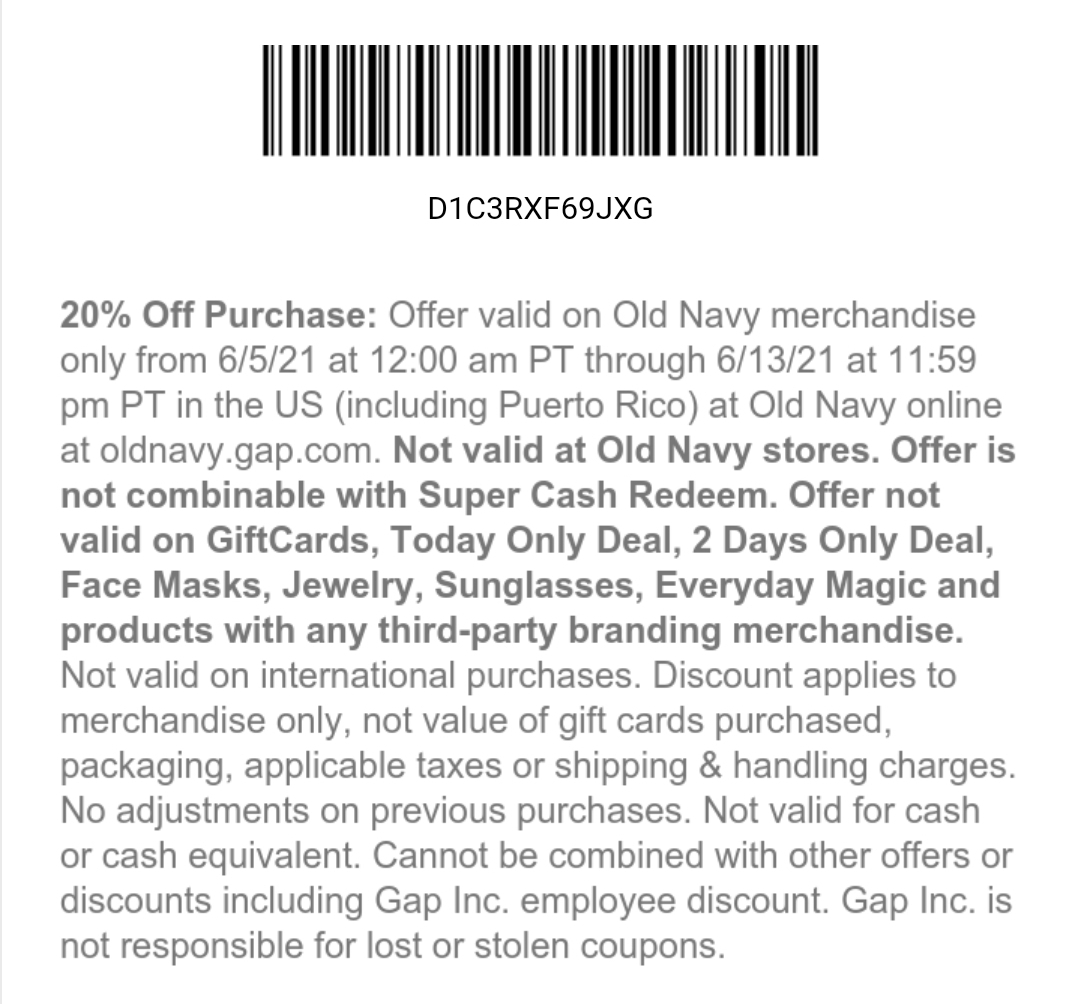 Old Navy Coupon: 20% Off Storewide