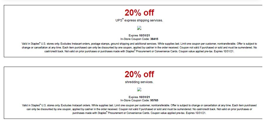 Staples Coupon: 20% Off Express Shipping Services + 20% of Shredding Services