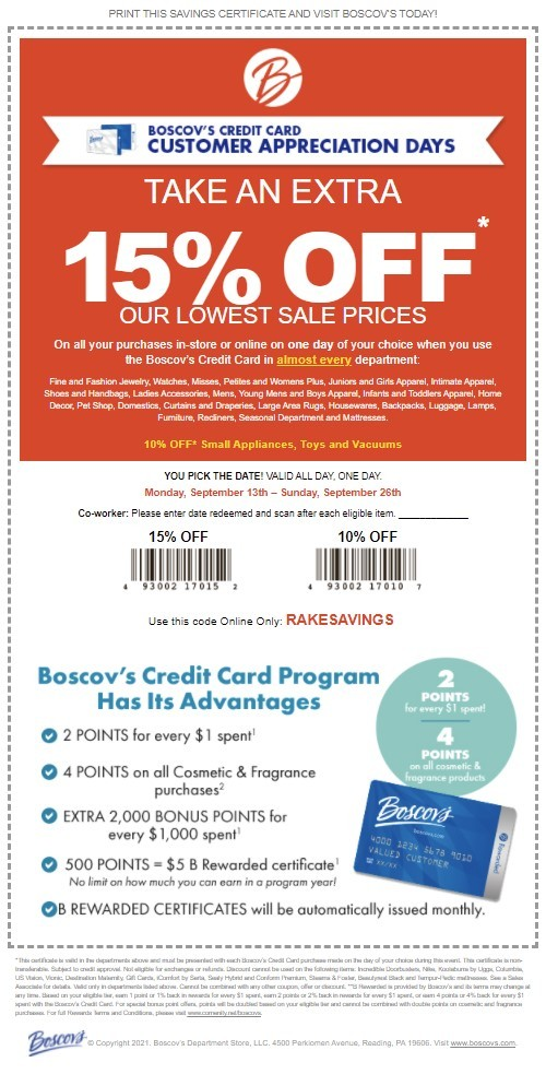 Boscovs Coupon: Extra 10-15% Off Storewide (Cardholders)