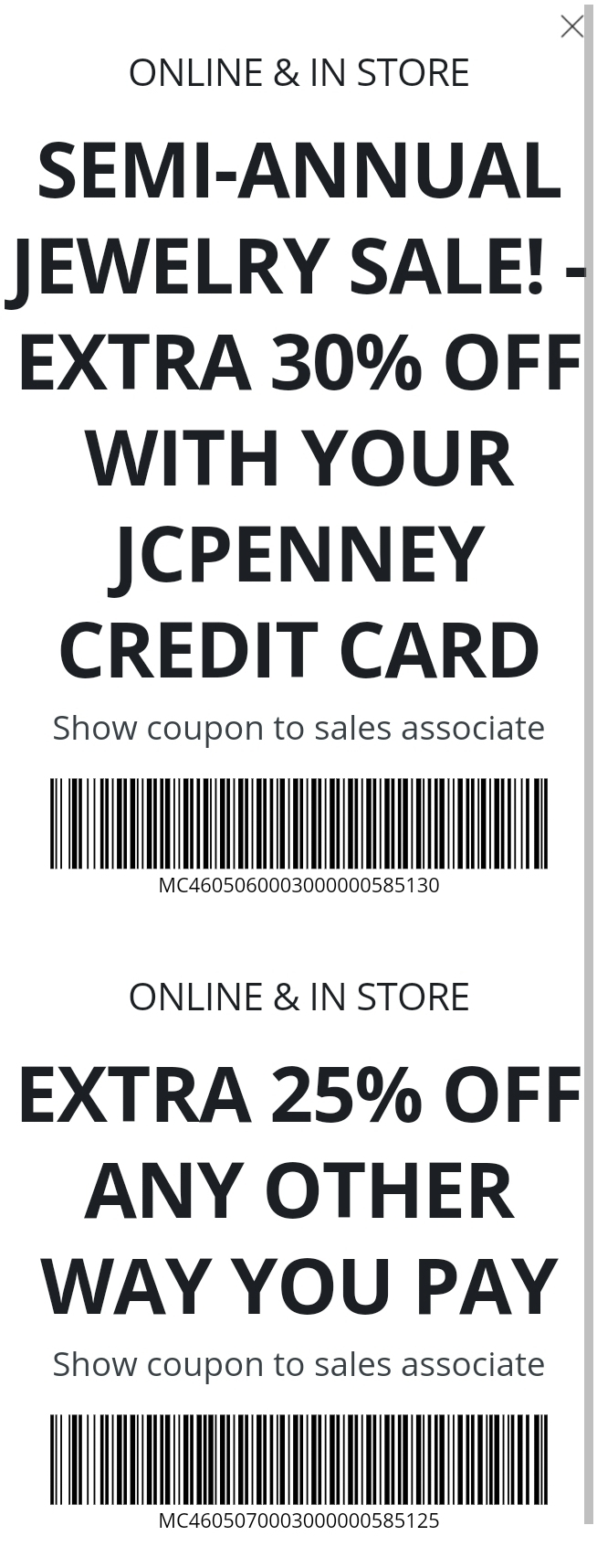 JCPenney Coupon: Extra 25-30% Off Semi-annual Jewelry Sale