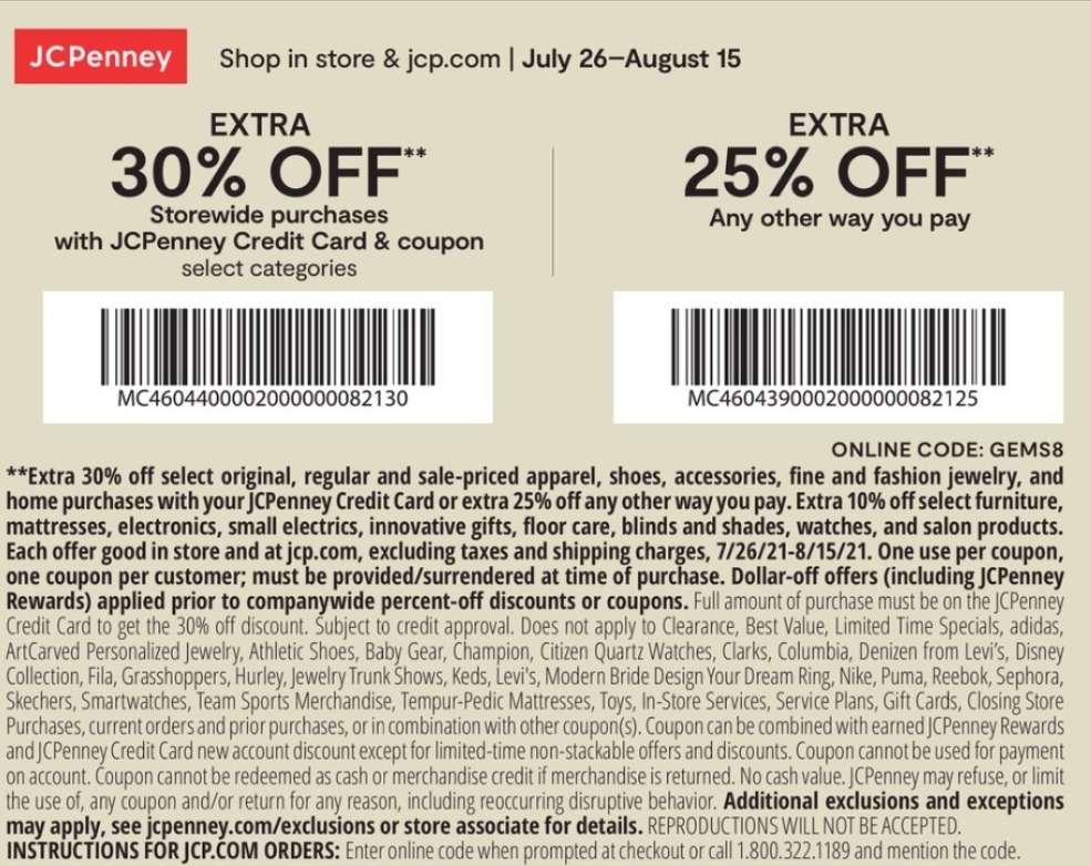 JCPenney Coupon: Extra 25-30% Off Storewide