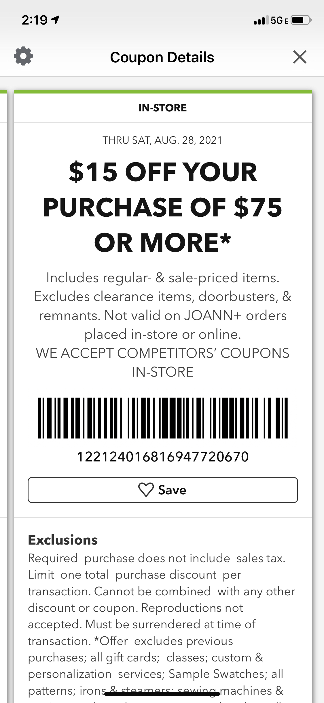 Joann Coupon: Extra $15 Off $75+