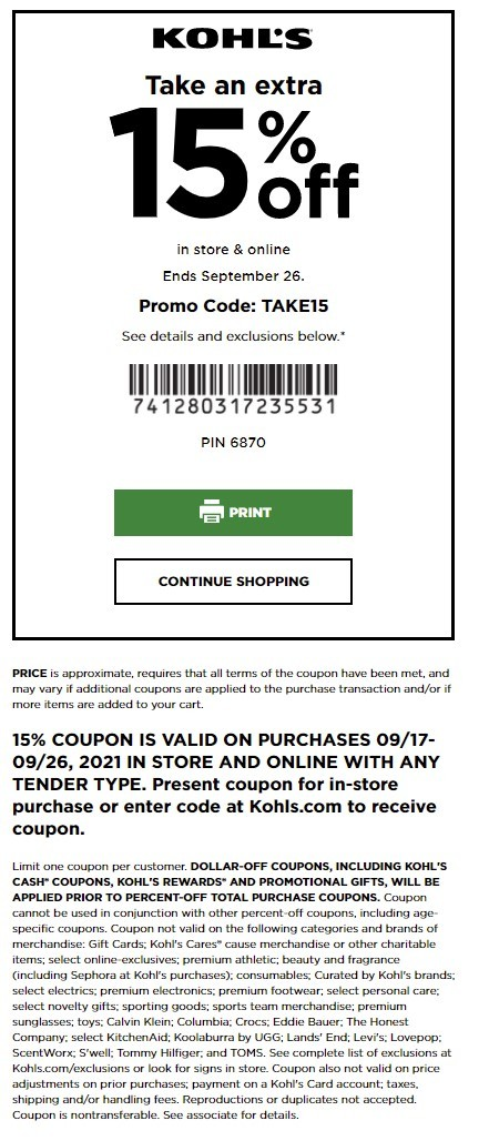 Kohl's Coupon: Extra 15% Off Storewide