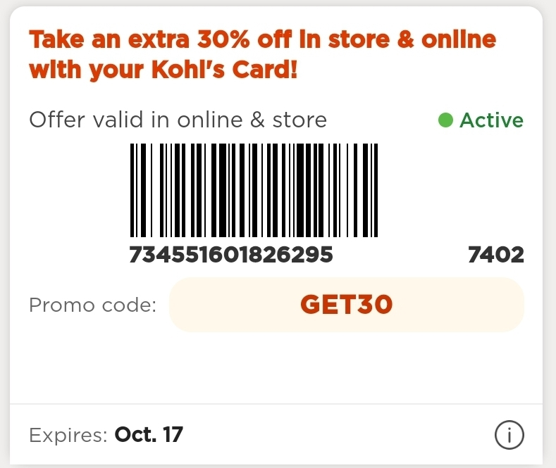Kohl's Coupon: Extra 30% Off Storewide (Cardholders)