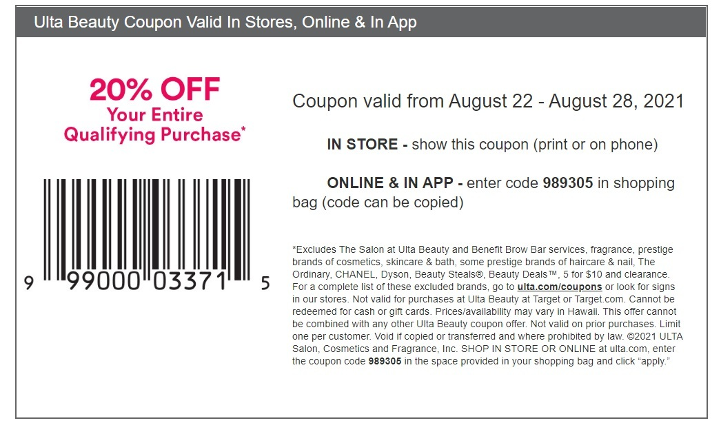 ULTA Coupon: Extra 20% Off Entire Purchase