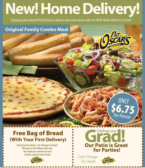 Pat and Oscars Coupon: Free Bag Of Bread with first delivery