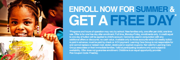 Childtime Daycare Center Coupon: Get a Free Day with your child's summer enrollment.
