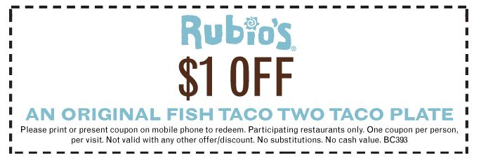 Rubios Coupon: $1 Off an Original Fish Taco Two Taco Plate