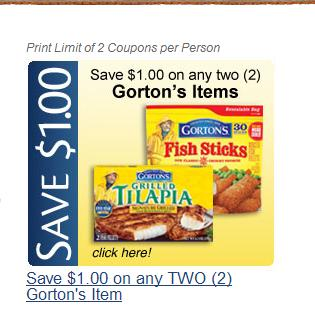 Gorton's Fresh Seafood Coupon: Save $1 on Any 2 Items Purchased