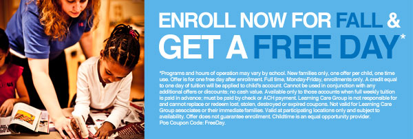 Childtime Daycare Center Coupon: Receive a Free Day when you Enroll your Child for Fall