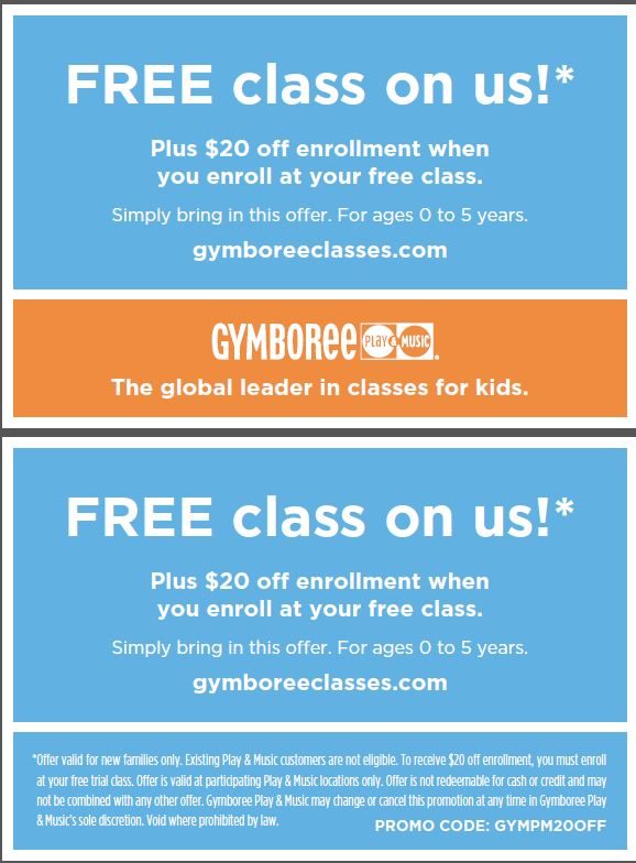 Gymboree Coupon: Free Class + $20 Off Enrollment Gymboree Class Locations