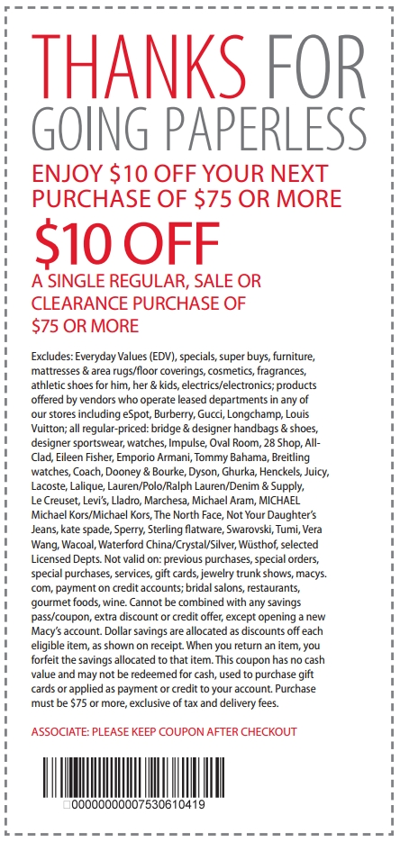 Macy 39 S Coupon 10 Off Purchase Of 75 4 4 2014