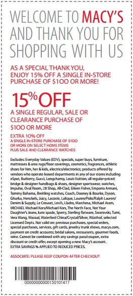 Macy 39 S Coupon Extra 15 Off 100 Or More 4 4 2014